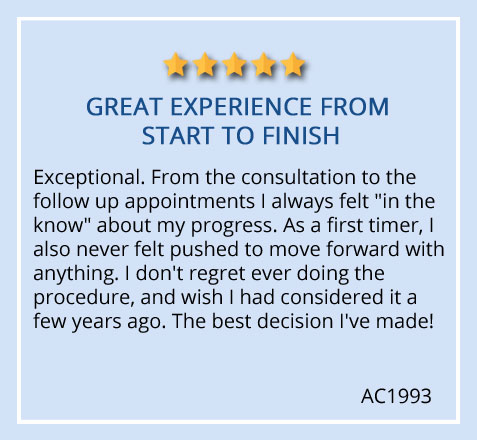 """patient review on Prasad Cosmetic Surgery Garden City, Long Island office """"Great experience from start to finish"""""""
