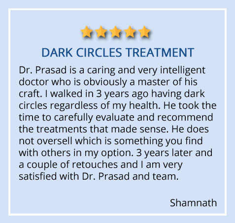 """Patient review on dark circles treatment received at our Garden City, Long Island """"Dr. Prasad is a caring and very intelligent doctor who is obviously a master of his craft"""""""