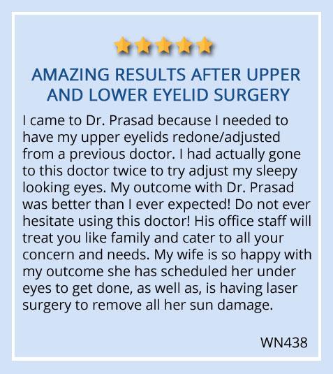 patient testimonial on eye bag surgery at Prasad Cosmetic Surgery Garden City. NY